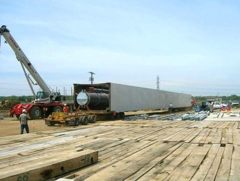 ASU cold box module entering lay-down area at plant site.