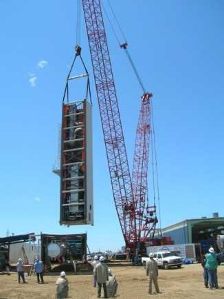 First ASU module lifted from ground - being moved to foundation