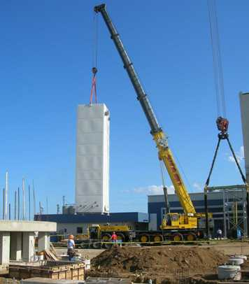 Liquefier (NLU) cold box lifted off ground.