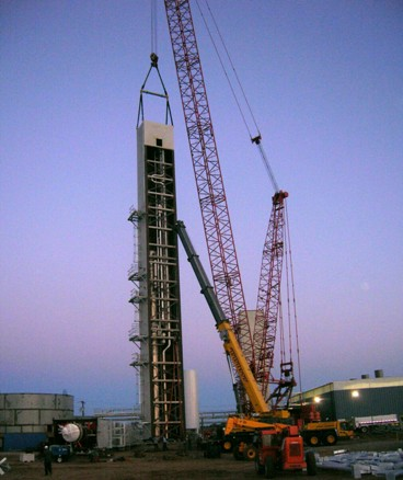 Third ASU cold box module raised to vertical.